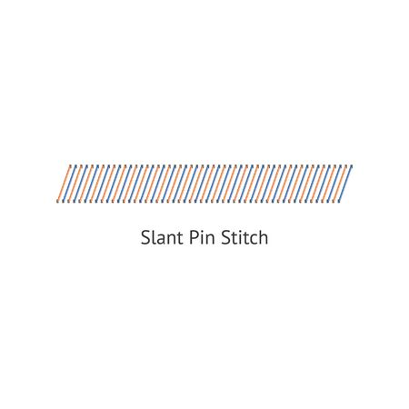 Seamless slant pin stitch brushes of sewing seams vector illustration isolated on white background. Endless pattern brush for borders and page decorations. Standard-Bild - 128947865