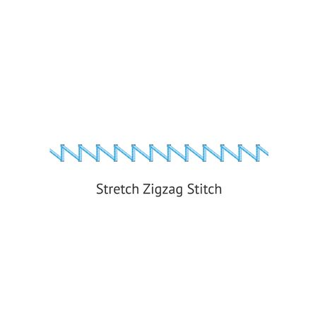 Stretch zig zag stitch brush of sewing seams vector illustration isolated on white background. Endless fashion pattern brush for borders and page decorative dividers. Stok Fotoğraf - 128947866