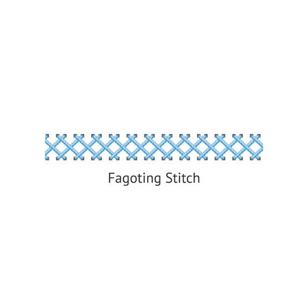 Blue fagoting stitch for textile sewing and embroidery. Fagoted seam row isolated on white background, realistic cartoon style line of needlework border - vector illustration Standard-Bild - 128947868