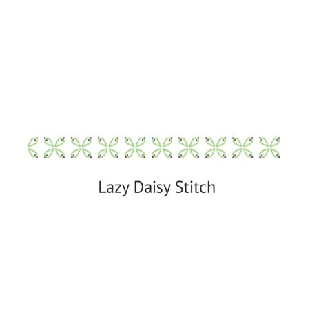 Seamless Lazy Daizy decorative stitch brush vector illustration isolated on white background. Endless pattern brush with flower shaped sewing seams for borders. Stok Fotoğraf - 128900479