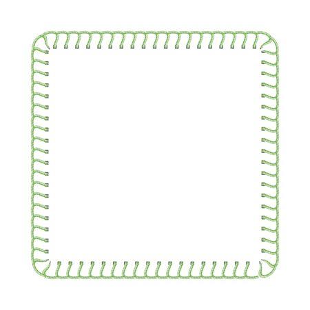 Bordure de fil de point vert pour la conception d'annonces textiles, texture de couture de machine à coudre en forme de cadre carré avec modèle de texte vierge isolé sur fond blanc - illustration vectorielle réaliste