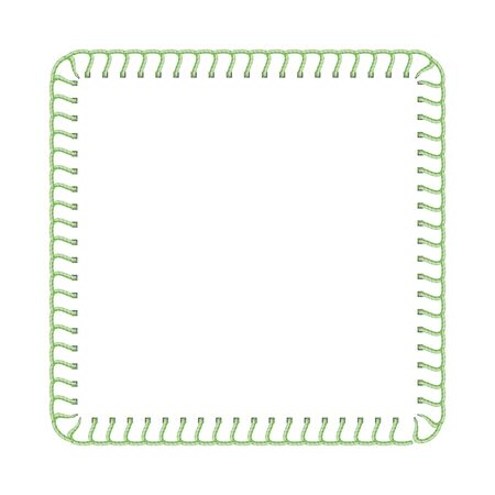 Green stitch thread border for textile ad design, sewing machine seam texture in square frame shape with blank text template isolated on white background - realistic vector illustration
