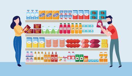 Interno del negozio del supermercato con i caratteri dei compratori e delle merci l'illustrazione piana di vettore del fumetto. Grandi scaffali di generi alimentari del centro commerciale con bevande, cibo e prodotti lattiero-caseari. Vettoriali