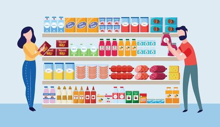 Supermarket store interior with goods and buyers characters the flat cartoon vector illustration. Big shopping mall grocery shelves with drinks, food and dairy products. Ilustração