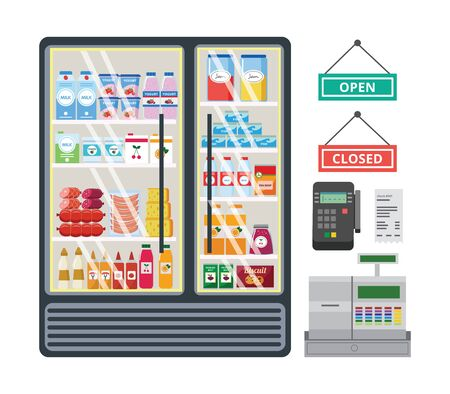 Grocery market interior equipment such as a refrigerator with products, a cash register and bank cards terminal set of flat vector illustrations isolated on white background. Stock Illustratie