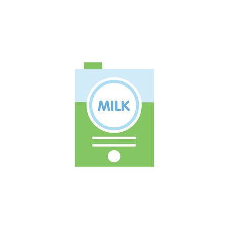 Milk packet or container the grocery item design flat vector illustration isolated on white background. Paper square box for drink milk product colorful icon.