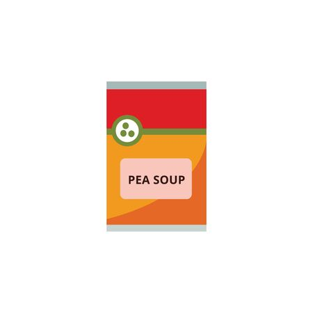 Pea soup packaging the supermarket food product flat vector illustration isolated on white background. Colorful icon for shopping and grocery retail concept. Illustration