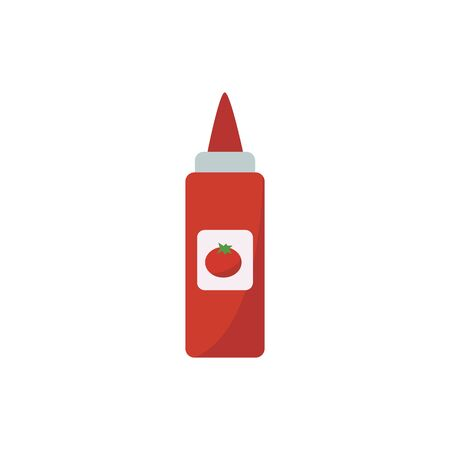 Barbeque tomato ketchup, spice and sauce. Tomato ketchup from the shelf of a grocery store or supermarket, isolated vector flat illustration icon.