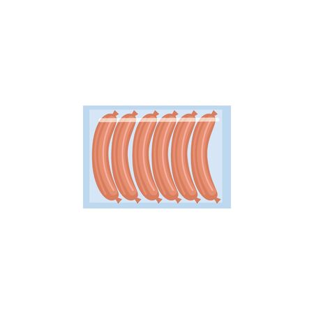 Meat sausage package isolated on white background, row of six raw hotdogs in clear plastic packaging in flat cartoon style - fresh fast food vector illustration