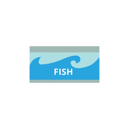 Fish in a canned jar from grocery store, isolated flat vector illustration on white background.