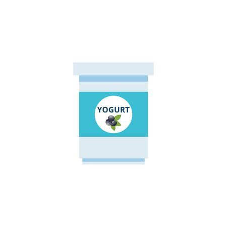 Simple flat yogurt cup icon with blueberry label isolated on white background, dairy food product for dessert in small blue plastic container - vector illustration Ilustração