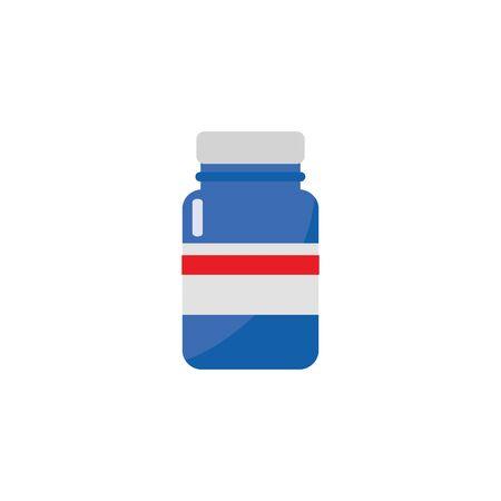 Blue plastic or glass jar and bottle for tablets, vitamins and pills, isolated flat vector illustration. Illusztráció