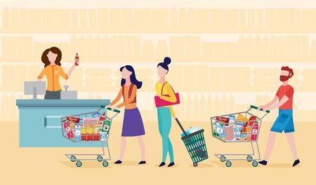 Ligne de caisse de supermarché d'épicerie - dessin animé de personnes faisant la queue avec des caddies et un panier rempli de nourriture. Clients en attente à la caisse enregistreuse - illustration vectorielle plane