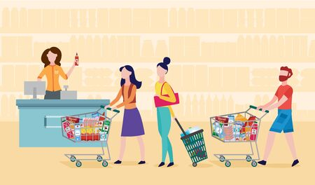 Grocery supermarket checkout line - cartoon people standing in queue with shopping carts and basket filled with food. Customers waiting at cash register - flat vector illustration