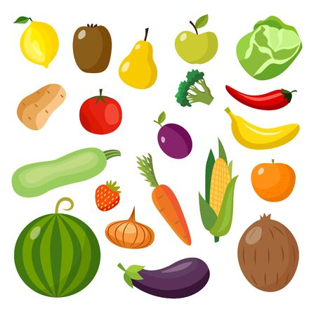 Isolated food items set - colorful fruits and vegetables in flat cartoon style. Carrot, tomato, apple, orange, banana and other groceries - vector illustration Çizim