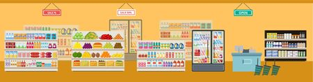 The interior of a grocery supermarket and store with shelves and products, sale and cash desk, food and drinks. Flat vector supermarket and shop illustration. Vettoriali