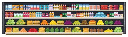 Articles d'épicerie sur les étagères des supermarchés et offres complètes avec un assortiment de nourriture et de boissons illustration vectorielle à plat d'arrière-plan harmonieux. Concept de magasinage et de vente au détail.