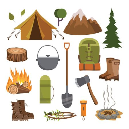 Outdoor camping equipment set - flat cartoon collection of camp tools and elements - tent, bonfire, shoes, shovel, axe, flashlight, etc. isolated on white background, vector illustration