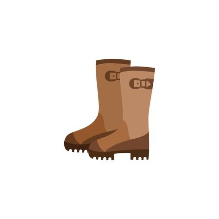 Icon with pair of brown firefighter rubber boots. Protective boots of fireman, isolated flat vector illustration. Standard-Bild - 128947894