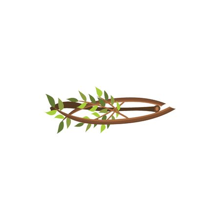 Firewood branches with tree leaves isolated on white background, nature and outdoor camping element from forest wood, small pile of brown twigs for the bonfire - flat cartoon vector illustration