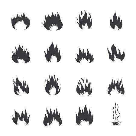 Fire flames or burning symbols set of black graphic vector icons illustrations isolated on white background. Abstract sign for flammable items and fire emblems.