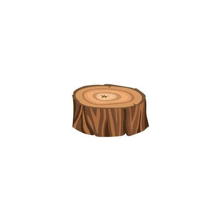 Sign and icon of a round brown forest stump with annual rings, isolated cartoon vector illustration.