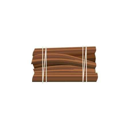 Stack of firewood logs tied up by rope, rectangle pieces of wood cut ready for camp bonfire isolated on white background, brown timber stack - flat cartoon vector illustration