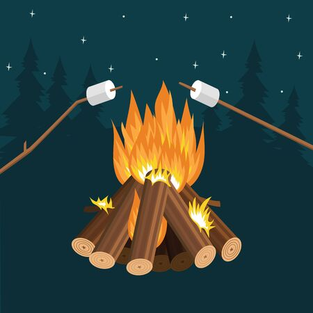 Frying marshmallow on sticks by the fire and campfire flame. Cooking marshmallows at night in a forest camp by the bonfire. Flat cartoon vector illustration. Illustration