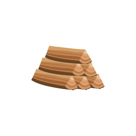 Pile of wood logs an icon for forestry and lumber industry flat cartoon vector illustration isolated on white background. Sawn cut tree trunks, wooden building material.