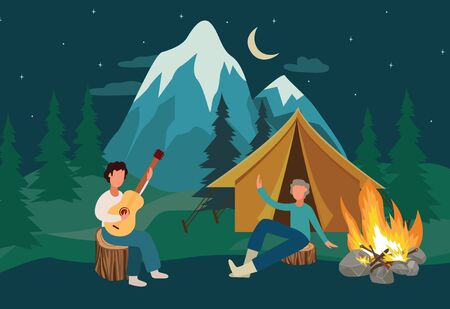 Cartoon people at camping leisure with yellow tent singing with guitar by the bonfire, summer outdoor tourism at night with music and friends, flat hand drawn vector illustration Illustration