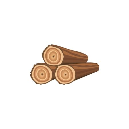 Cartoon firewood stack icon with three wood logs isolated on white background, cut pieces of timber piled for fireplace or bonfire fuel. Flat vector illustration.