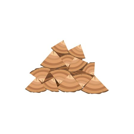 Brown woodpile of firewood and stacks wooden logs. Timber pile of firewood for campfire and bonfire. Isolated flat vector illustration.