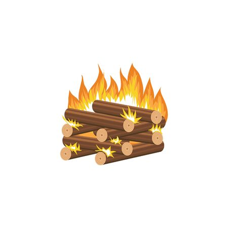 Cartoon bonfire - log cabin method of firewood stacking with burning wood pieces stacked in neat square shape, flat cartoon logs on hot fire for campfire site, isolated vector illustration