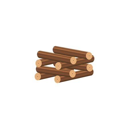 Cartoon firewood stacked in log cabin method to form square well shape from neatly chopped wood logs. Stack of brown wood timber pieces for bonfire - isolated vector illustration on white background. Çizim