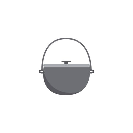Icon metal hiking pot or cauldron in flat style. Hiking pot for tourism and cooking on a fire, hiking in nature and a picnic. Isolated flat vector illustration of a camping bowler. Çizim