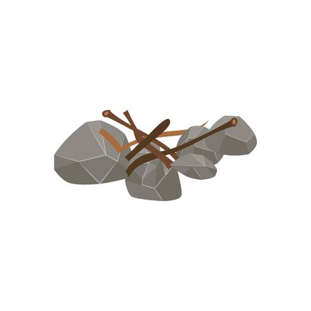 Firewood preparation step - wood stick pieces thrown on stone fire bed for kindling, isolated bonfire preparation site with twigs and brushwood branches on stone - flat cartoon vector illustration Illustration