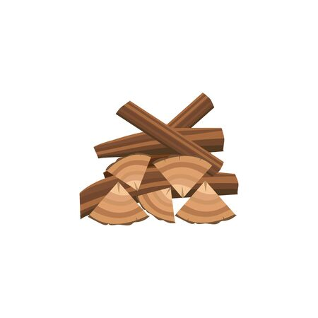 Messy pile of firewood in cartoon flat style - pieces of chopped brown wood stacked randomly on top of each other for bonfire, tree log timber drawing - isolated vector illustration  イラスト・ベクター素材