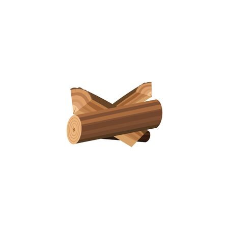 Small firewood log stack isolated on white background - brown cartoon tree wood timber drawing for bonfire fuel. Prepared woodpile - flat vector illustration
