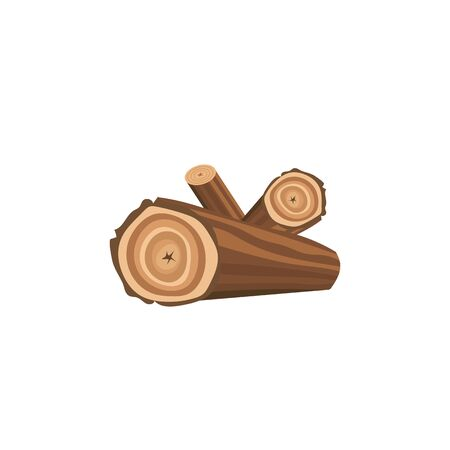 A bunch of big logs of firewood. Wooden logs for campfire and bonfire, isolated flat vector illustration.