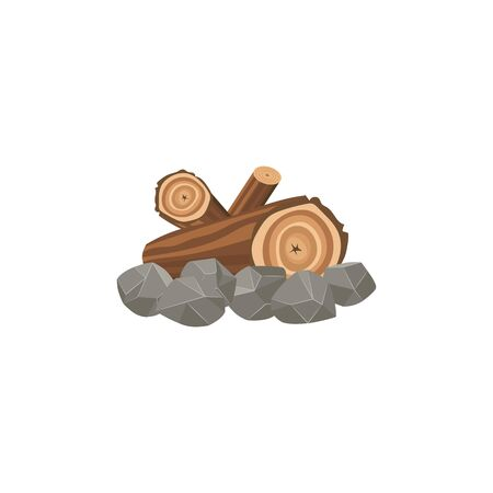 Campfire and bonfire place made of large wooden brown logs and stones. Isolated cartoon vector illustration of firewood and fireplace. Banque d'images - 128947916