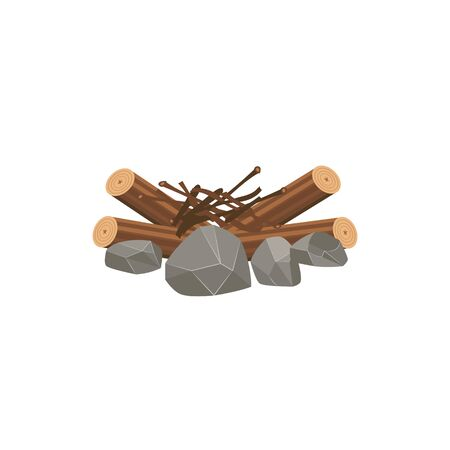 Messy stack of firewood, tree sticks and stones ready for bonfire, isolated flat drawing of wood kindling, brushwood branches and logs in a big pile - cartoon vector illustration