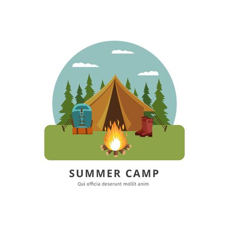 Summer camp - travel adventure site with yellow tent by bonfire and tourism equipment. Outdoor camping place in the forest with backpack and boots - isolated vector illustration