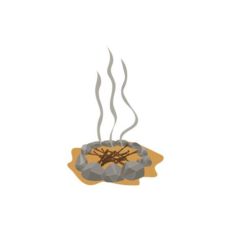 Campfire place and fireplace of stones, branches and sand. Stones, branches and wood for a forest fire, smoke from the fire. Isolated cartoon vector illustration.