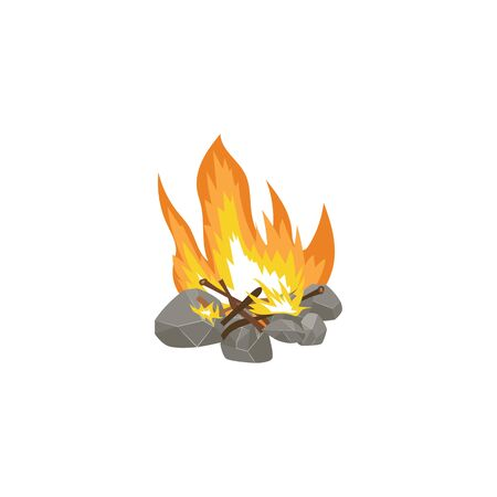Cartoon bonfire with hot orange flame and firewood on stone foundation - flat drawing isolated on white background. Camp fire icon - hand drawn vector illustration