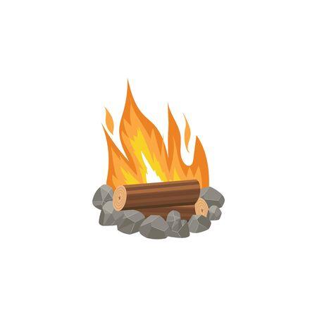 Cartoon bonfire or tourist summer campfire flame vector illustration isolated on white background. Burning firewood element design for emblem or warning banner. Illustration