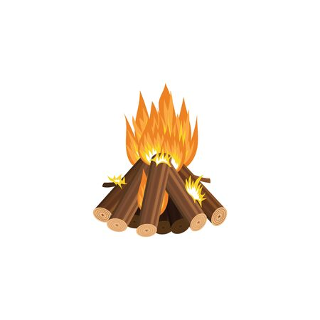 Forest tourist summer campfire flame or fireplace cartoon vector illustration isolated on white background. Burning of stacked firewood icon or symbol design. Illustration