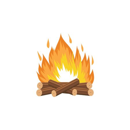 Campfire with burning wood logs and flame colorful symbol the cartoon vector illustration isolated on white background. Burning stacked firewood a design for web games and warning signs.