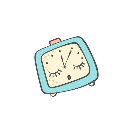 Sleeping cute doodle alarm clock with closed eyes and baby face the icon for Good night and Sweet dreams designs, cartoon vector illustration isolated on white background. Ilustração