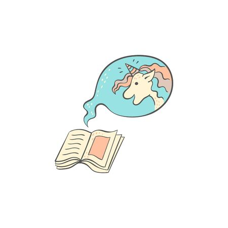 Childrens book about a unicorn, hand drawn open pages with cute fantasy animal in speech bubble, happy cartoon character inside a fairytale, isolated vector illustration