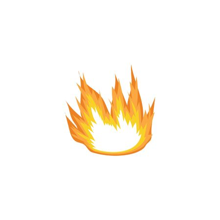 Flat cartoon fire blown sideways by the wind, isolated drawing of hot orange bonfire flame leaning to the side. Simple burn icon for heat symbol or decor element - vector illustration